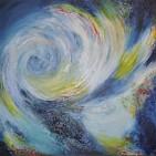 """""""universum I"""", Acryl-Collage auf Baumwoll-Leinen-Gewebe, 100 x 100cm"""