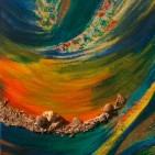 """""""erinnerung"""", Acryl/Collage auf Baumwoll-Leinen-Gewebe, ca. 30 x 40 cm"""
