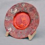 Keramik-Schale, weißer Ton, Glasurbrand bei 1050°C, Durchmesser 35 cm