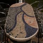 Gartentisch mit Fliesenmosaik, 100 x 200 cm